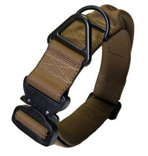 "1.75"" wide tactical dog collar with cobra buckle."